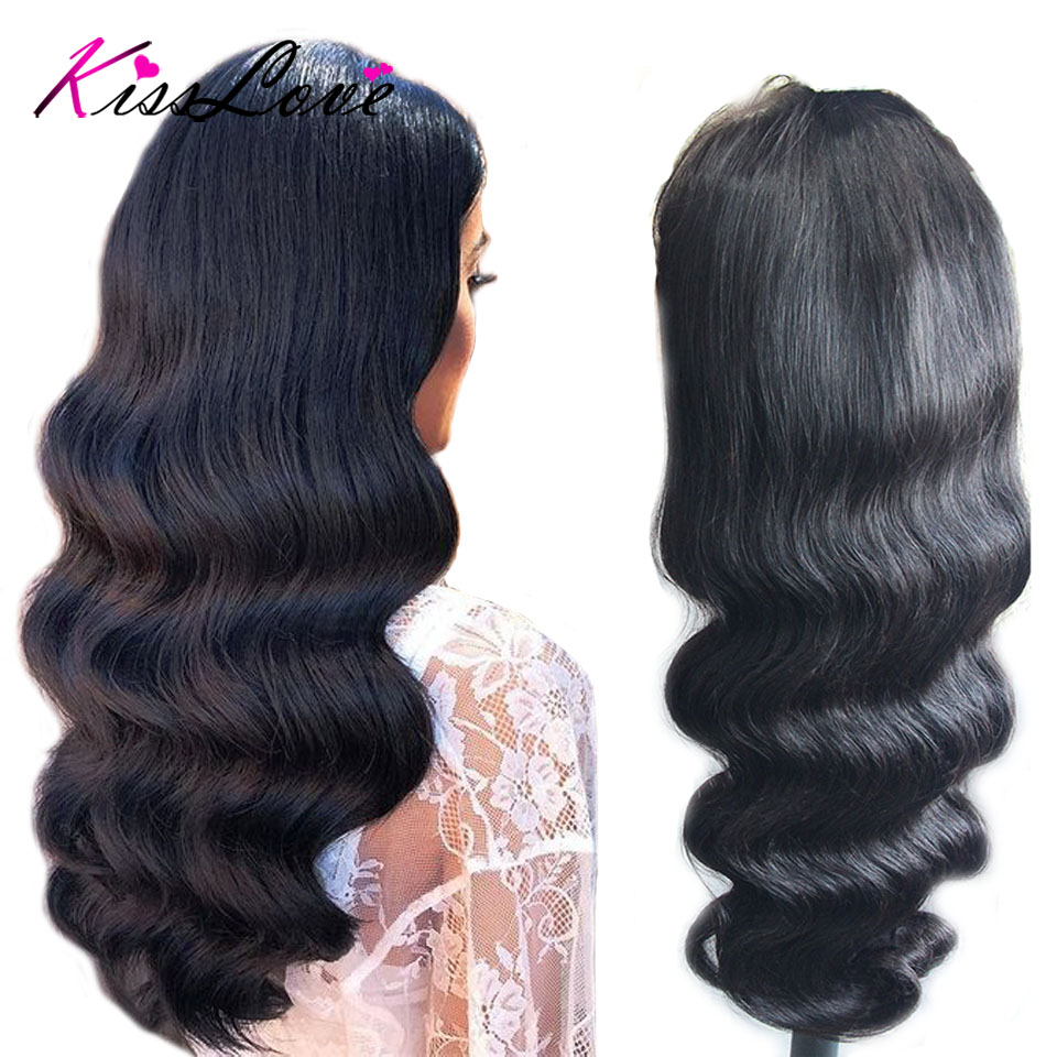Body Wave 360 Lace Frontal Wig For Black Women Brazilian Remy Human Hair Wigs With Baby Hair Pre Plucked Bleached Knots KissLove