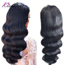 Onda del cuerpo 360 peluca Frontal de encaje para las mujeres negras Remy brasileño pelucas de cabello humano con el pelo del bebé Pre arrancado blanqueado nudos KissLove