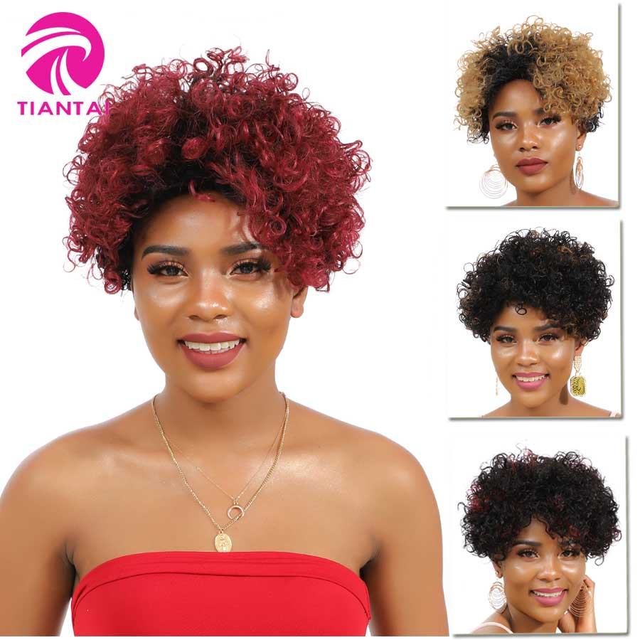 Tiantai Malaysian Short Curly Bob Wigs Short Human Hair Wigs For Woman Remy Gluess Machine Made Wig Ombre Colored Wigs F1b/30