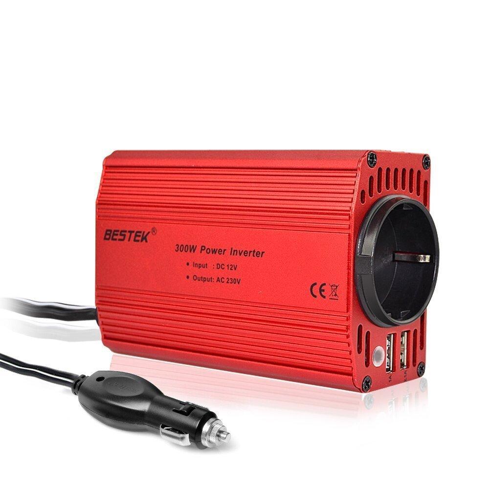 цена на BESTEK 300W Car Inverter 12v 220v 50Hz EU Outlet Convertisseur 12v 220v Auto Inverter 12 220 Car Power Inverter Lighter Inverter