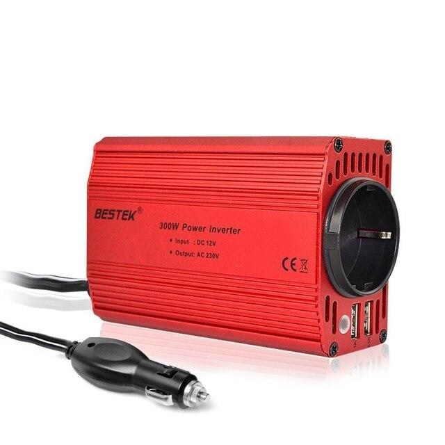BESTEK 300W Car Inverter 12v 220v 50Hz EU Outlet Convertisseur 12v 220v Auto Inverter 12 220 Car Power Inverter Lighter Inverter