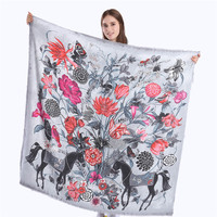 POBING Luxury Brand Winter Scarf Women Spain Horse Floral Shawl Square Scarves Wraps Female Neckerchief Large