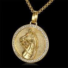Jockey clube pingente de ouro cor de aço inoxidável cabeça de cavalo homens colar congelado strass hip hop unisex jóias