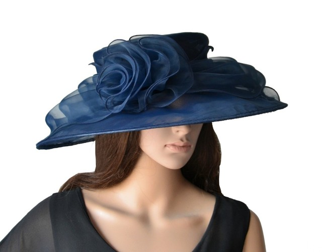 NEW Wholesale Attractive multiple color Navy blue big organza hat bridal hat  with feathers for wedding races party church. b76b9e85cd1