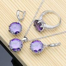 Big Purple Zircon White Birthstones Jewelry Sets 925 Sterling Silver Jewelry Kit For Women Earring/Pendant/Ring/Necklace Sets цена 2017