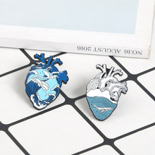 Blue Ocean Wave Organ Jantung Enamel Pin Bros Biru Laut Paus Hati Manusia Kerah Pin Lencana Fashion Denim Jaket Gelombang perhiasan(China)