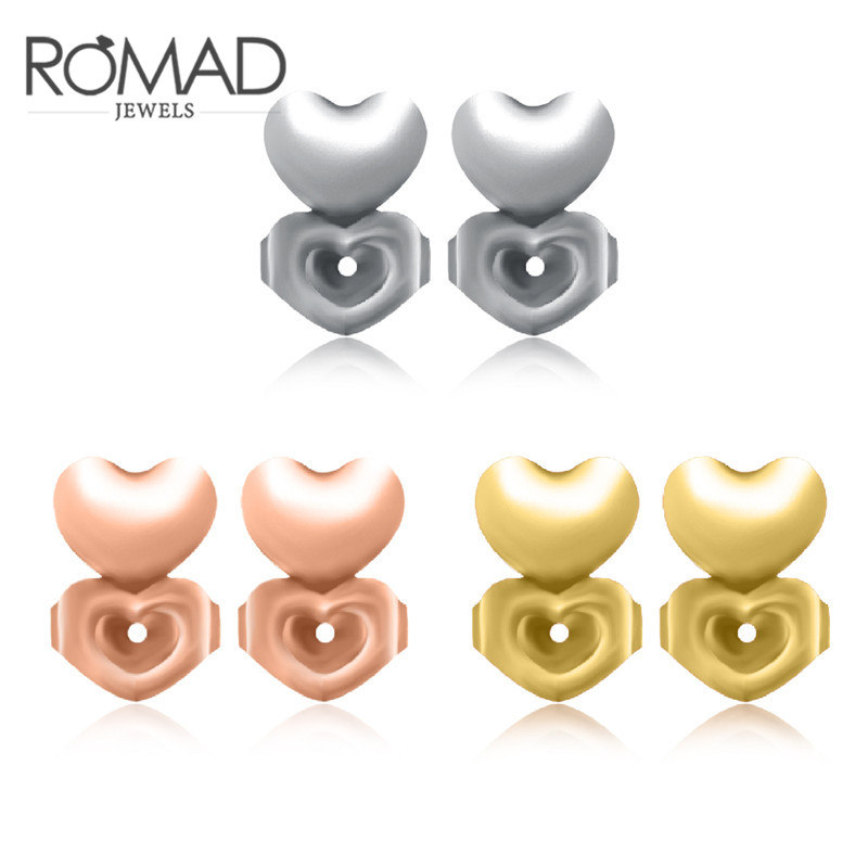 ROMAD New Earring Backs Support Magic Love Earring Lifts Hypoallergenic Fits all Post Earrings Heart Set of Rose Gold R4