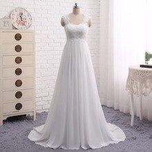 Beach Wedding Dresses Vestido Noiva Praia Simple White Chiffon  Casamento Sashes Bridal Gown Custom Made