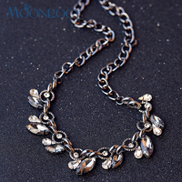 MOONROCY Free Shipping Fashion Crystal Necklace Crystal Jewelry for women Party Hyperbole Necklace Grey waterdrop Choker