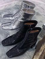 2019 Spring Newest Thick Heels Boots Sexy Square Toe Black Silver Glitter Embellished High Heel Shoe Woman Fasion Riding Boots