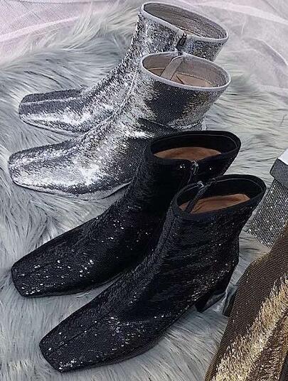 2019 Spring Récent Épais Talons Bottes Sexy Bout Carré Noir paillettes argent Embelli chaussure à haut talon Femme Fasion bottes d'équitation