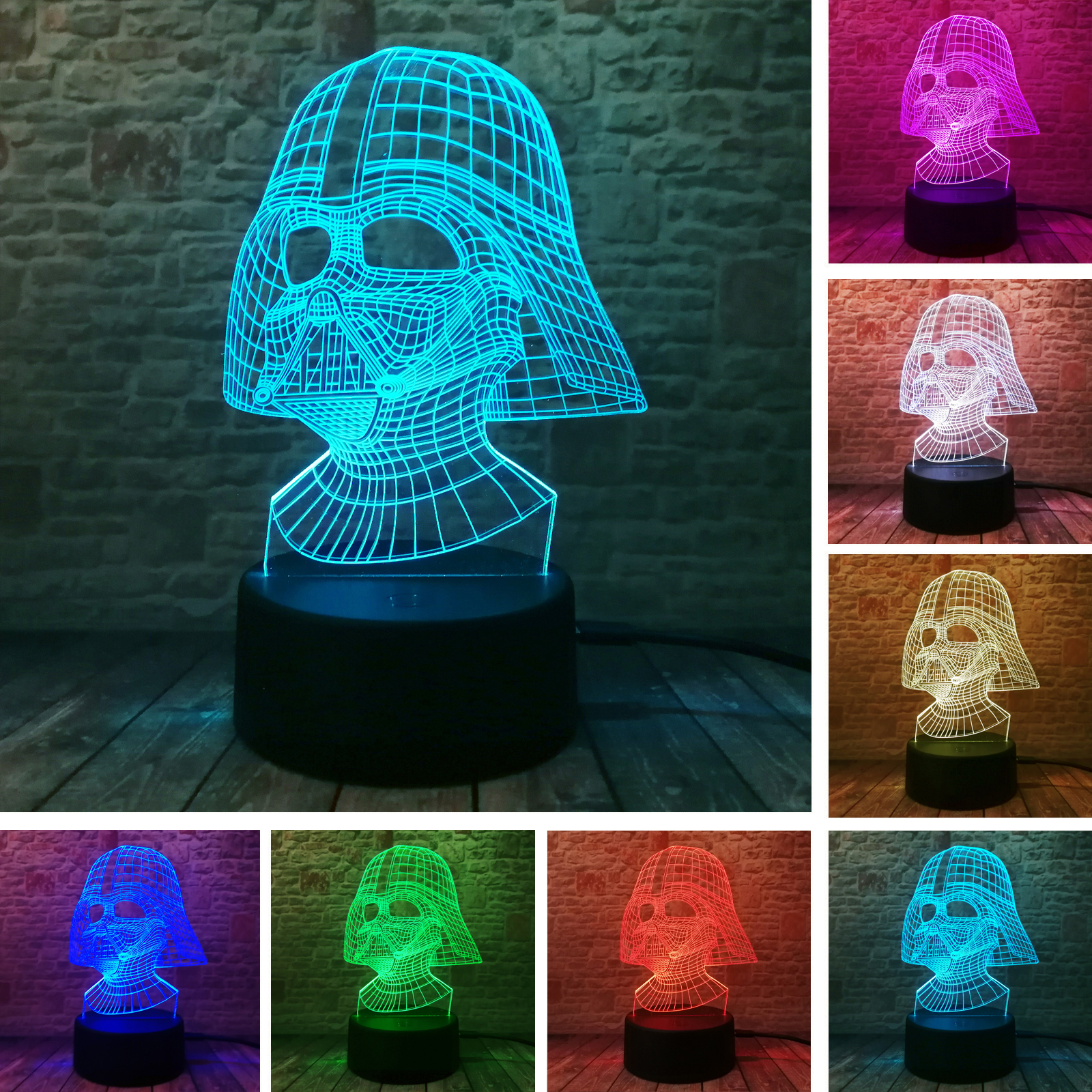 Black Knight Darth Vader Star Wars Fan 3D Visual Led 7 Color Change Auto Night Light Table Illusion Lamp Child Boys Room Decor