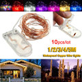 10pcs/lot Button Cell Battery Operated 2m 3m 4m Christmas Party Decoration Strip LED Copper Wire String Fairy Lights Lamps