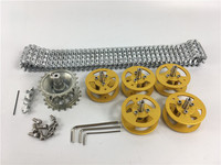 DIY Metal Track drive kit +Drive wheel + Bearing wheel set for Robot Tank Smart Car Chassis kits
