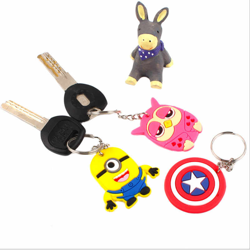 1Pcs Cute Cartoon Mickey Minnie The Avengers Silicone Key ring Key Holder Backpack Accessories Key chains Kid Gift