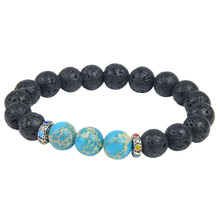 10MM New Arrivals Wholesale nature Lava Stone Beads Bracelet of Men Jewelry for Stretch beaded Bracelet