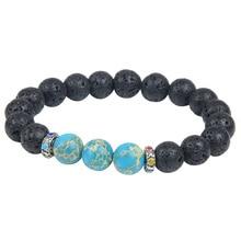 10MM New Arrivals Wholesale nature Lava Stone Beads Bracelet of Men Jewelry for Stretch beaded Bracelet