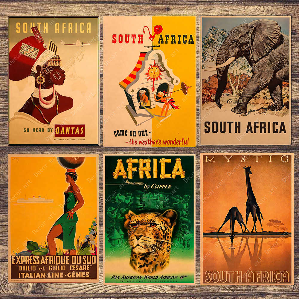 South Africa Elephant Travel Canvas Painting Vintage Wall Pictures Kraft Posters Coated Wall Stickers Home Decoration Gift