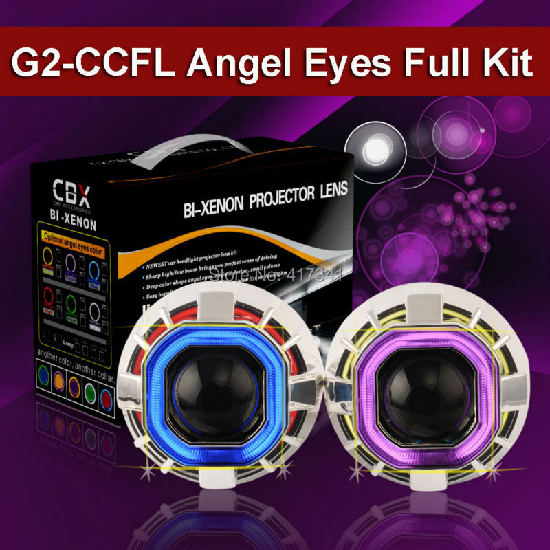 2.5 Inches Square CCFL Double Angel Eyes HID B-xenon Projector Lens Kit with 35W AC HID Ballast HID Lamp for H4 H7 Headlamp