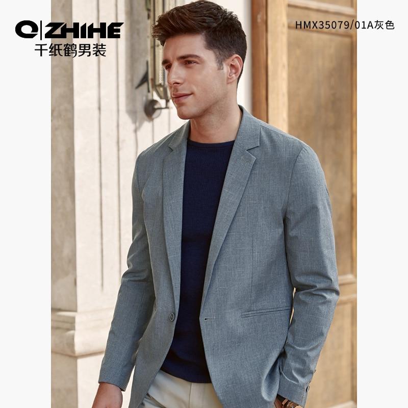 Qzhihe Casual Suit Men's New Casual Solid Color Men's Suit Jacket Business Luxury Long Sleeve Suit 35079