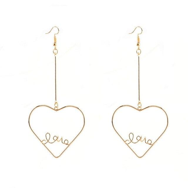 Fashion Korean Style Exaggerated Hollow Heart Love Earrings For Women Letter Drops Long Dangle Earring