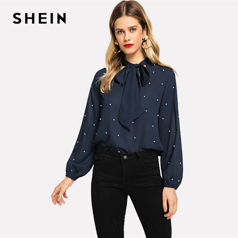 cbc77ec93768f SHEIN Navy Tie Neck Elegant Stand Collar Bishop Sleeve Long Sleeve Beaded  Pearls Top Pullovers Blouse