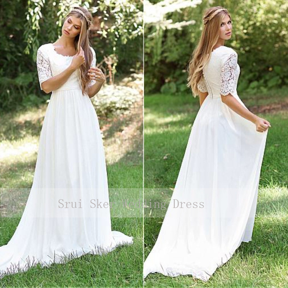 Classic O-Neck Cheap Lace Wedding Dress Chiffon Skirt Design Half Sleeve Custom Made Zipper Back Bridal Dresses 2019 Hot