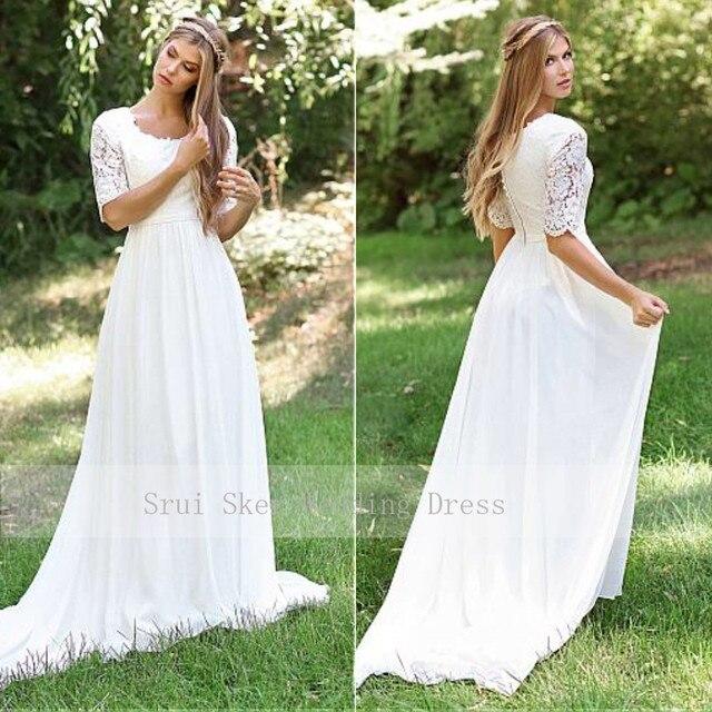 Classic O Neck Cheap Lace Wedding Dress Chiffon Skirt Design Half Sleeve Custom Made Zipper Back Bridal Dresses 2019 Hot