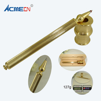 Handmade Brass Counter Pen Sets Computer thread Carved Crafts Stationery Desk Decoration Cool Ball Pen with Base Gifts Set