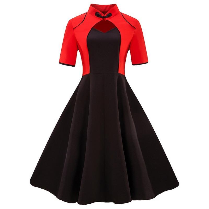 1662096568 Plus Size 4XL Women Fashion Contrast Color Black Red Dress Retro Vintage  Flare Short Sleeve A Line Party Dress Slim Vestidos