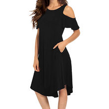 Women's Summer Fashion Dresses Casual Cold Shoulder ladies Midi Dress Short Sleeve Swing Sundress Pockets robe femme ete 2018(China)