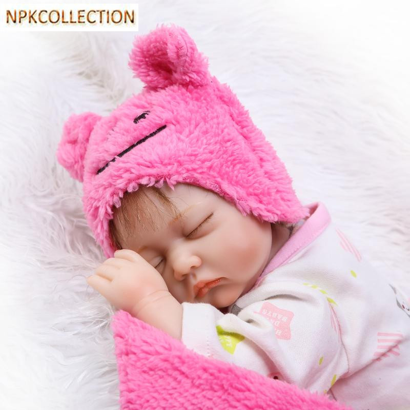 NPKCOLLECTION 35CM Silicone Reborn Dolls Babies Bonecas with Pacifier,Bottle,Clothes,Lifelike Baby Dolls for Girl Xmas Gift