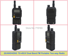 2014 New QUANSHENG TG-45UV Walkie Talkie UHF400-480MHz & VHF136-174MHz Dual Band 6W 128CH Portable Two-way Radio