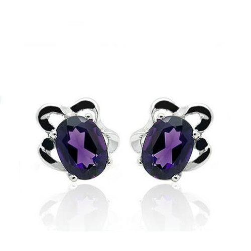 Brincos Qi Xuan_Fashion Jewelry_Elegant Violet Pierre Fleur Earrings_S925 Solide Argent Mode Earrings_Factory Directement Vente