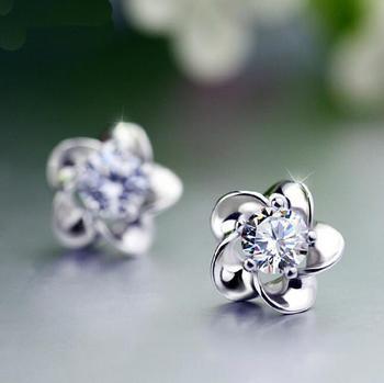 Five Leaves flowers White Zircon Amethyst 925 sterling silver Stud earrings