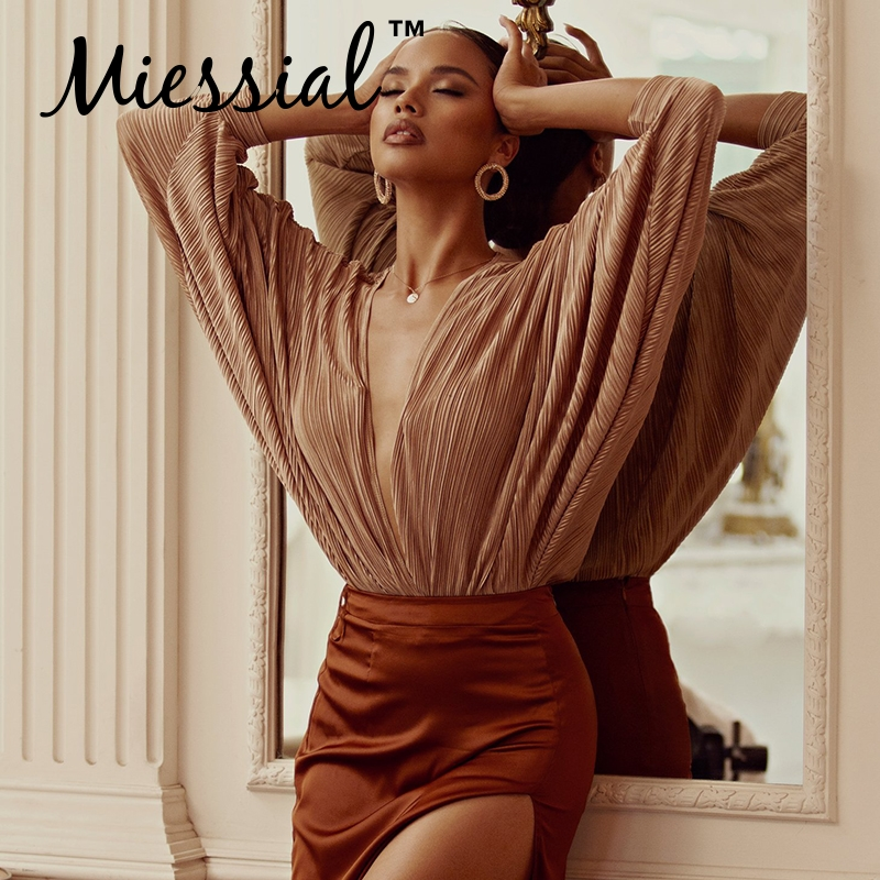 Miessial Deep v neck sexy bodysuit Women long sleeve pleated short   jumpsuit   romper Summer female elegant party jump suit overall