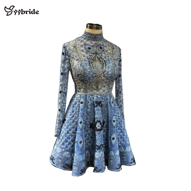 Surmount Customized Mini dress A-line Long Sleeves Mini Short Party Dress High Neck Vintage Beading Crystals Celebrity Dresses
