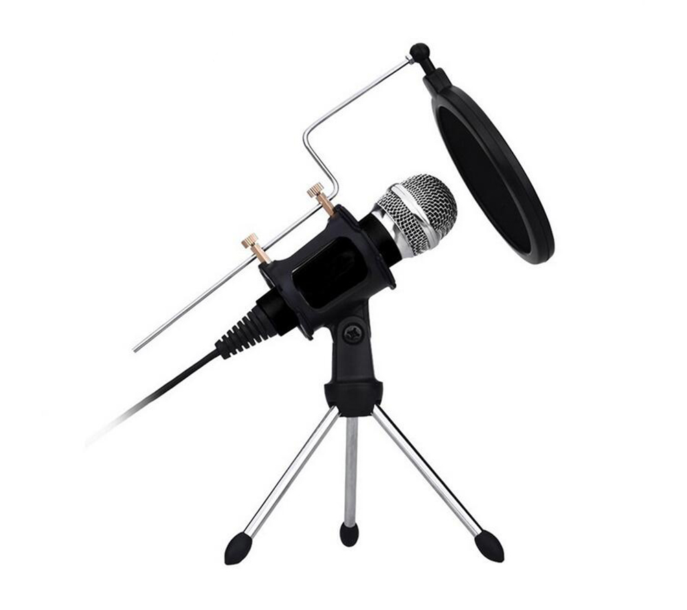 Professional 3.5mm Condenser Microphone Recording with Filter & Tripod Stand for Smartphone Computer Skype YouTube Games Karaoke image
