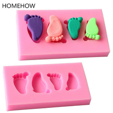 Homehow 1PC/Lot Cute Baby Foot Feet Cake Silicone Mold Fondant Chocolate Candy Molds Resin Clay Soap Mould Kitchen Baking Mold feet of clay
