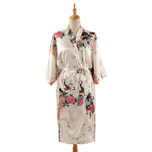 White Print Peacock Flower Summer Robe Gown Chinese Women s Satin Bathrobe Nightgown Kimono Yukata Long