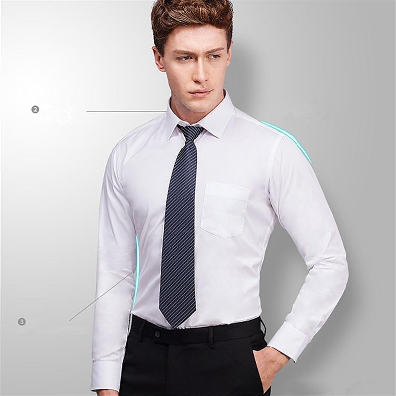2018 New Arrived Mens Business Work Shirts Man Long Sleeve Male Shirts Solid Men Dress Shirts 4xl Plus Size Mens Shirts YN10185