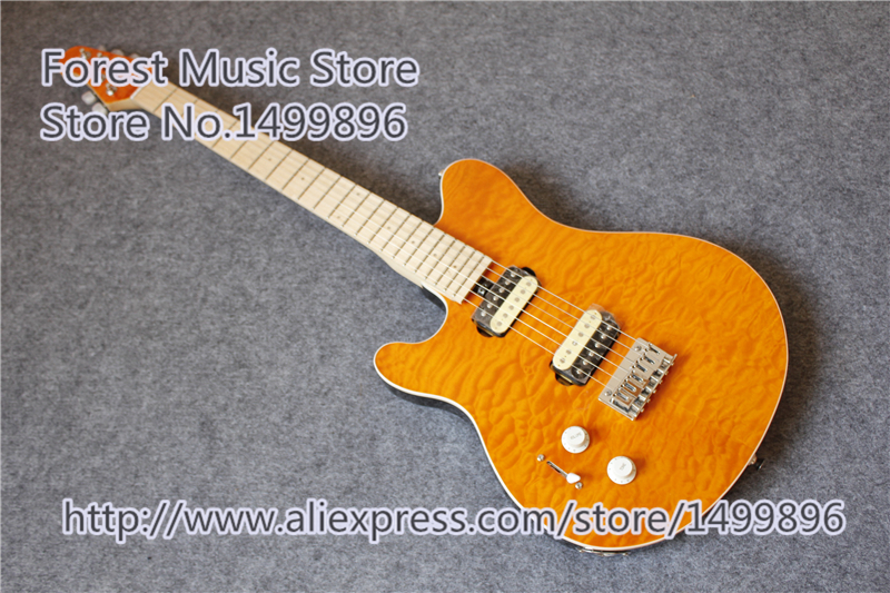 China Custom Shop Left Handed Wolfgang Electric Guitar Orange Quilted Finish Mahogany Body For Sale custom shop china lp electric guitar in desert burst color quilted top guitar body lefty custom available