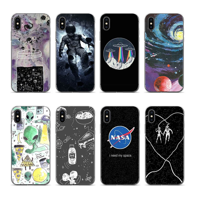 Aiboduo Black alien space Silicone Soft Shell Cover For iPhone XSmax XR XS X 7plus 8plus 6plus 5 5S 6 7 8 phone case