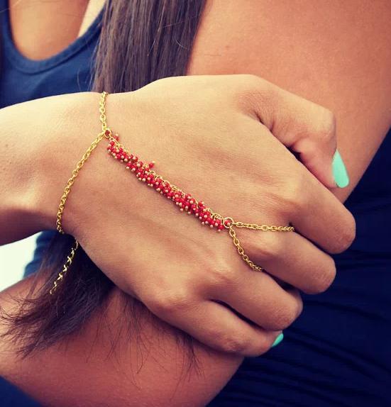 Ring Bracelet Chain: Brand Women Bracelet Bead Punk Style Chain Bracelet New