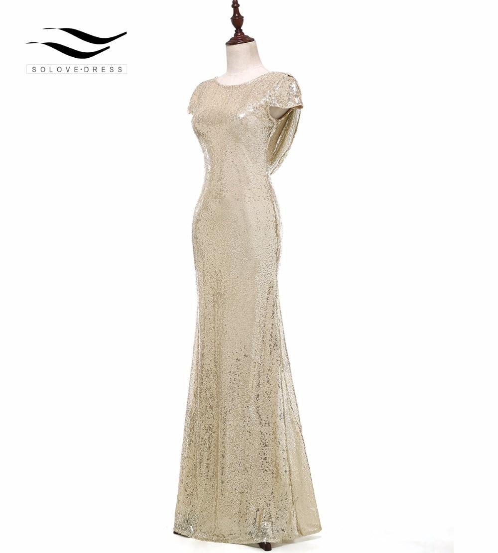 Соловедресс Cap Sleeves Champagne Mermaid Sequin - Ерекше жағдай киімдері - фото 3