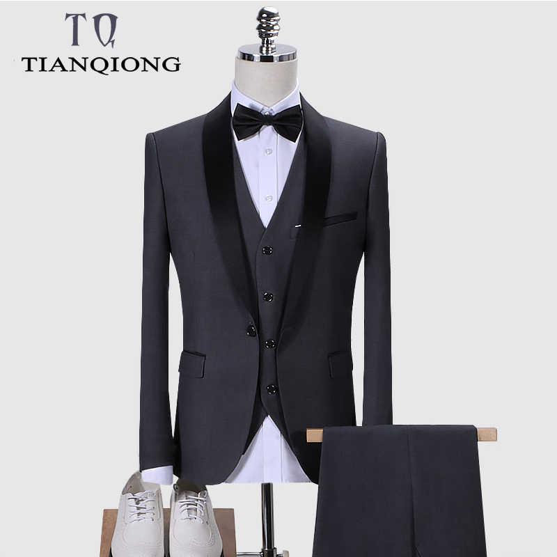 Traje de marca para hombre 2019 trajes de boda para hombre chal Collar 3 piezas Slim Fit Borgoña traje hombres azul real esmoquin chaqueta QT977