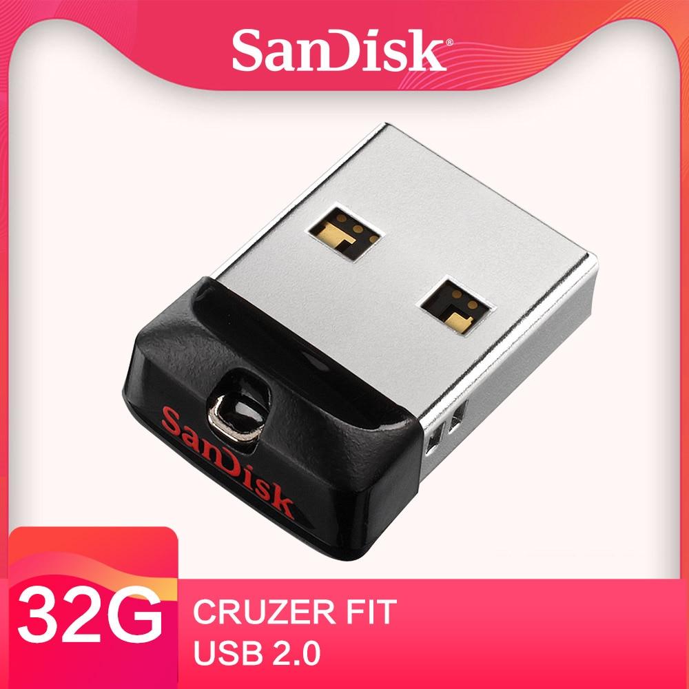 SanDisk Cruzer Fit USB Flash Drive 32GB CZ33 16GB 8GB mini Pen Drives 64GB USB 2.0 PenDrive Memory stick External Storage Device data storage device