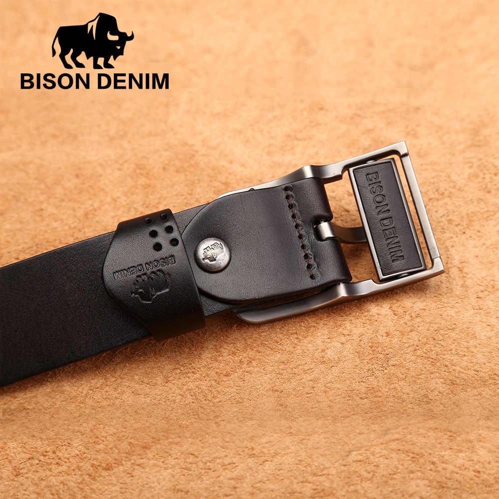 Бизон джинсовый из натуральной кожи ремень для Для мужчин Коускин Мужской Ремни Хорошее качество пряжкой 3,8 см Ширина Для Мужчин's Ремни N70780