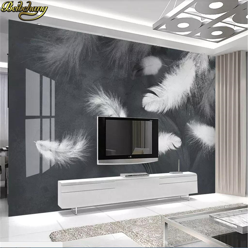 Awesome Us 8 85 41 Off Beibehang Modern Minimalist White Feather Tv Sofa Background Papier Peint Mural 3D Photo Wallpapers For Living Room 3D Flooring In Unemploymentrelief Wooden Chair Designs For Living Room Unemploymentrelieforg