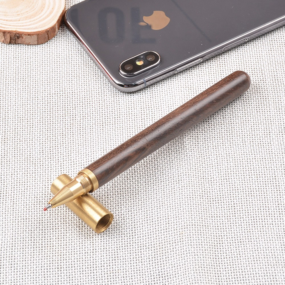 все цены на High Quality Vintage Gel Pen Rosewood And Brass Pen Gift Sign Pen Pure Copper Pen For Office School Stationery онлайн